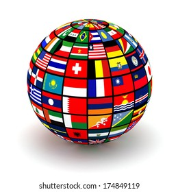 Globe world flags isolated on white stock illustration 90955634 planet flags 3d freerunsca Image collections