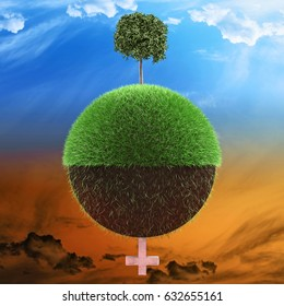 Planet illustrated with one half with healthy tree and other half with less grass and a tombstone 3d illustration