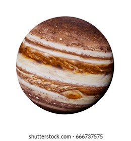 planet Jupiter isolated on white background (3d render, elements of this image are furnished by NASA)