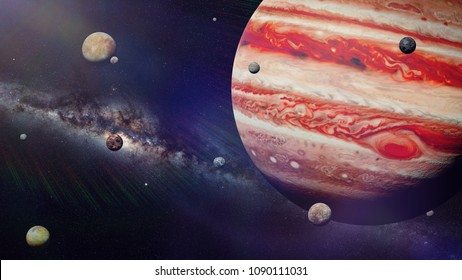 planet Jupiter with some of the 69 known moons lit by the Sun and the Milky Way galaxy (3d space render, elements of this image are furnished by NASA)