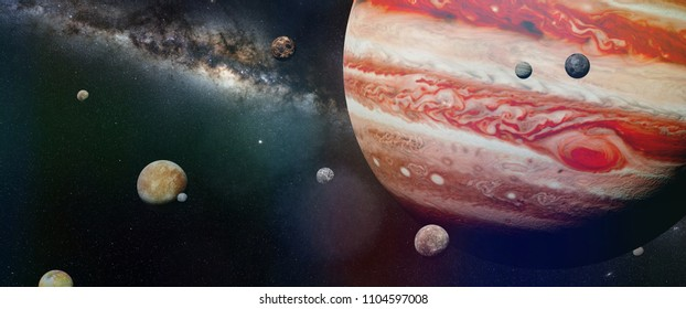 planet Jupiter with some of the 69 known moons with the Milky Way galaxy (3d space illustration, elements of this image are furnished by NASA)