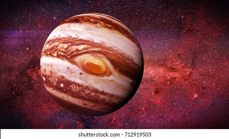 the planet Jupiter and the stars of the galaxy (3d illustration, elements of this image are furnished by NASA)