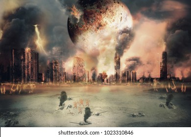 Planet landscape and burnt city, judgement day. Digital retouch.