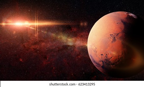 planet Mars in front of the Milky Way galaxy and the sun (3d illustration background, elements of this image are furnished by NASA)