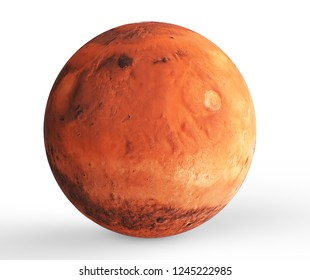 Planet Mars Isolated (Elements of this image furnished by NASA). 3d illustration