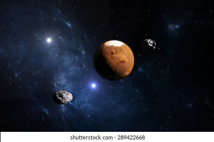 Planet Mars with moon, illustration.(Stock video version is also available in my portfolio. Clip ID 10460087)