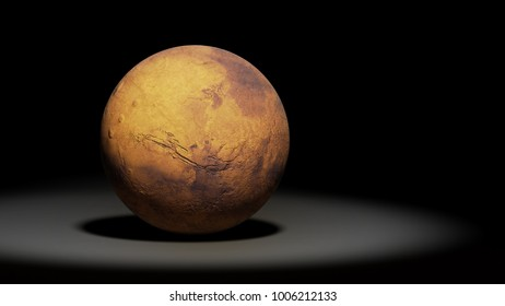 planet Mars, the red planet, solar system (3d space render, elements of this image are furnished by NASA)