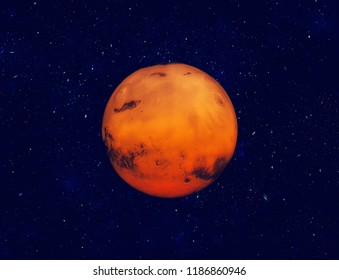 Planet Mars in space. Night sky and stars background.