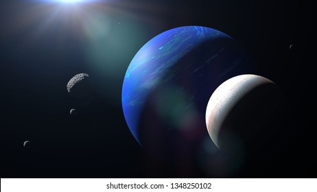 planet Neptune with its moon Triton and some other moons (3d space render, elements of this image are furnished by NASA)