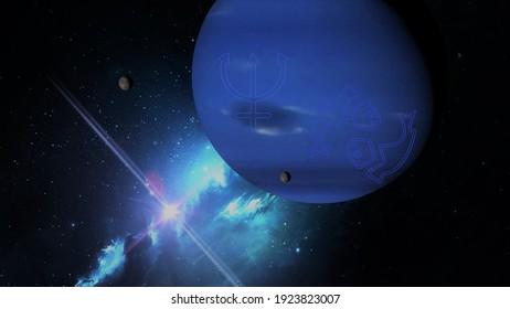 planet neptune the ruling planet of pisces 3d rendering illustration