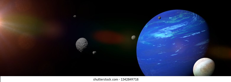 planet Neptune with some of its 14 moon (3d space illustration banner, elements of this image are furnished by NASA)of this image are furnished by NASA)