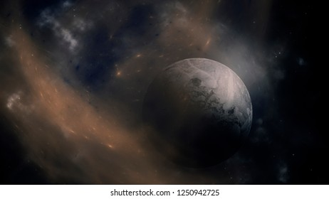 planet in outer space background with stars and galaxies