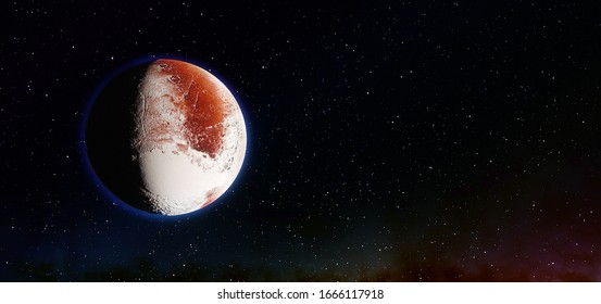 planet Pluto with copyspace, planet pluto panoramic image, Pluto copyspace 3d render