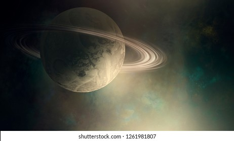 planet with rings, Saturn space background, digital illustration (no NASA images used)
