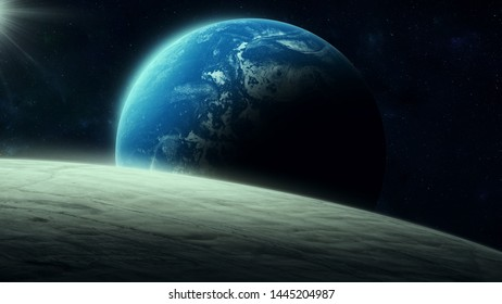 planet rising over horizon in space, digital illustration