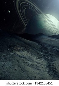 planet rising in sci fi landscape, surreal spatial illustration (no NASA images used)