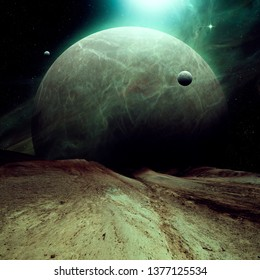 planet with sattelite rising over dry landscape, sci fi space digital illustration (no NASA images used)