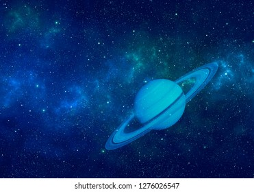 Planet Saturn in night sky with nebula and stars