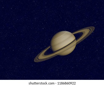Planet Saturn in night sky with stars