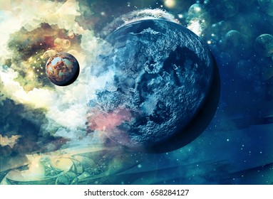 Planet in space.Universe background