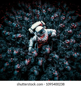 Planet of terror / 3D illustration of astronaut surrounded by a horde of robot zombie skeletons