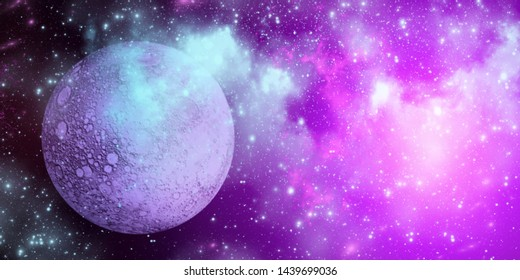 Planet Uranus from outer space. Space nebula. Cosmic cluster of stars. Outer space background. Panoramic image