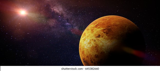 planet Venus in front of a colorful star field (3d render banner, elements of this image are furnished by NASA)