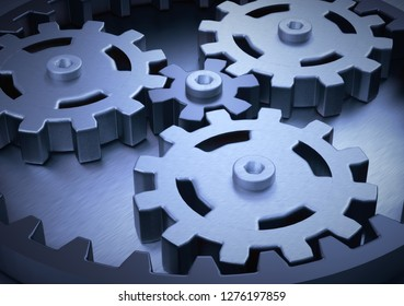 planetary gear 3D illustration teamwork concept and business ideas strategy symbol