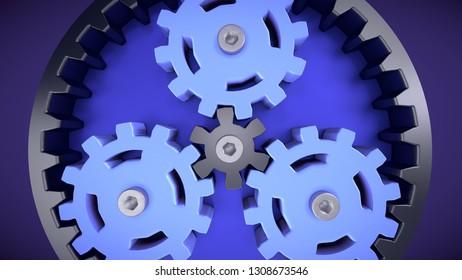 planetary gears engineering technology teamwork 3D illustration