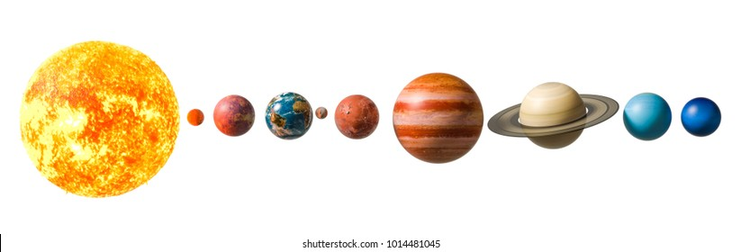 Planets of the solar system, 3D rendering isolated on white background, Elements of this image furnished by NASA