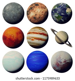 the planets of the solar system isolated on white background (3d space rendering, elements of this image are furnished by NASA)