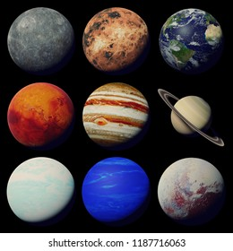 the planets of the solar system isolated on black background (3d space rendering, elements of this image are furnished by NASA)