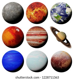 the planets of the solar system isolated on white background (3d science rendering, elements of this image are furnished by NASA)