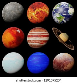 the planets of the solar system isolated on black background (3d science rendering, elements of this image are furnished by NASA)