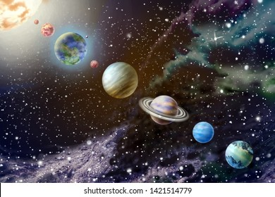 Planets of the solar system on background starry sky 3D