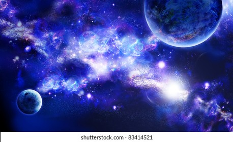 A planets is in space, long nebula or part of galaxy among star sky