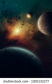 planets in space, surreal solar system illustration with nebula and sun in the background, planets passing through asteroid belt (no NASA images used)