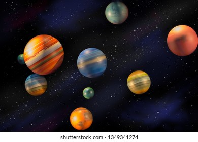 Planets in space universe and stars
