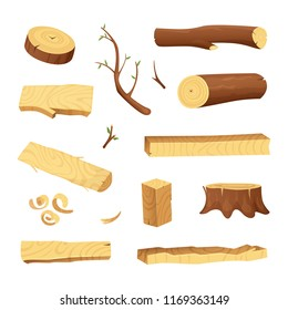 Planks from trees and different wood elements for production industry. Wooden plank material, log and trunk illustration