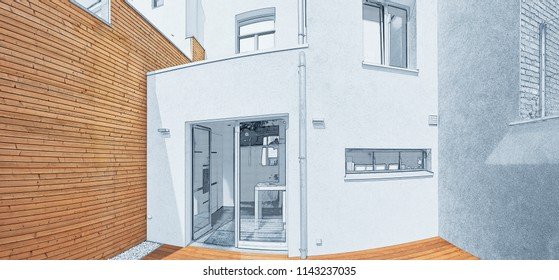 Planned remodel of courtyard with insulating wooden cladding wall