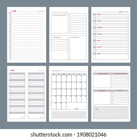 Planner pages. Notebook agenda diary vertical pages template goals organizer designs