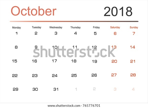 graphic about Monthly Planning Calendar identified as Developing Calendar Oct 2018 Regular Scheduler Inventory