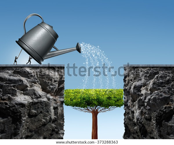 Planning for future success business concept with a businessman and businesswoman lifting a watering can to help a tree grow into a bridge to achieve the long term goal of crossing to the other side.