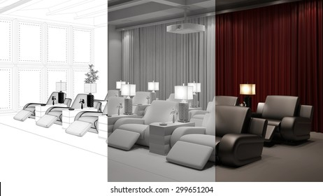 Planning of home cinema room from CAD blueprint to 3D Rendering