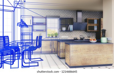 Planning of a kitchen with 3D