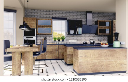 Planning of a kitchen with 3D Rendering