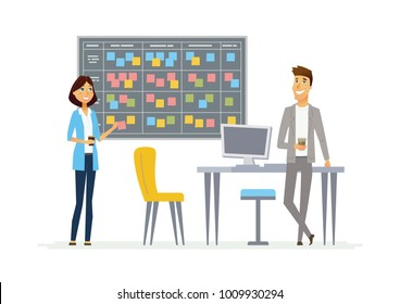 Planning system - illustration of office, business situation. Cartoon people characters of young man, woman at work. Female colleague making presentation, showing, kanban board cards to male
