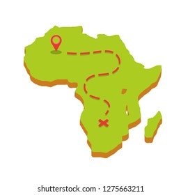 Planning a trip to Africa with the red point of the route, the dotted line and cross the finish line. Tourist trip to the southern mainland. journey through all countries.