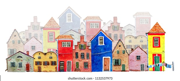 Plans of an old town. Colorful old stone european houses. Hand drawn cartoon watercolor illustration on white background