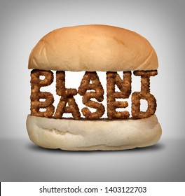 Plant based burger as fake meat or vegan hamburger representing a vegetarian protien in a 3D illustration style.